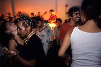Samba de gafieira dancers at Clube Democraticos ( Democraticos Club ), in Lapa district - Rio de Janeiro nightlife - multi-ethnic couple in love affair.