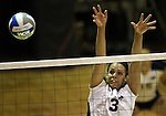 Nevada's Janelle Batista goes up for a block against Seattle University during NCAA women's college volleyball in Reno, Nev., on Thursday, Oct. 20, 2011..Photo by Cathleen Allison