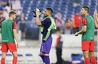 NASHVILLE, TENN - JULY 03: Zack Steffen #1, Christian Pulisic #10 and the USMNT celebrate their Semifinal victory over Jamaica during a 2019 CONCACAF Gold Cup Semifinal match between the United States and Jamaica at Nissan Stadium on July 03, 2019 in Nashville, Tennessee.