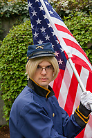 Union Soldier with US Flag, Sakura Con 2016, Seattle, Washington, USA.
