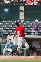 Carolina Mudcats outfielder Dustin Peterson (46) at bat during  game one of a doubleheader against the Myrtle Beach Pelicans at Ticketreturn.com Field at Pelicans Ballpark on June 6, 2015 in Myrtle Beach, South Carolina. Carolina defeated Myrtle Beach 1-0. (Robert Gurganus/Four Seam Images)