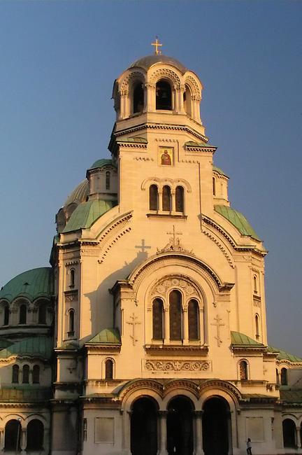 Aleksandur Nevski Cathedral at sunset
