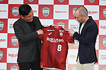 Vissel Kobe's new signing Andres Iniesta and Vissel Kobe owner Hiroshi Mikitani attend a press conference in Tokyo, Japan on Thursday, May 24, 2018. Barcelona legend playmaker announced he has signed with J-League first-division side Vissel Kobe. (Photo by Pasya/AFLO)