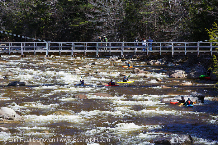 Kayaking the East Branch of the Pemigewasset River in Lincoln, New Hampshire USA during the spring months.