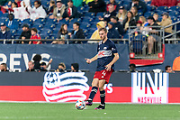 FOXBOROUGH, MA - AUGUST 4: Henry Kessler #4 of New England Revolution passes the ball during a game between Nashville SC and New England Revolution at Gillette Stadium on August 4, 2021 in Foxborough, Massachusetts.