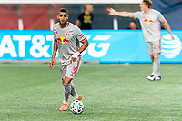 FOXBOROUGH, MA - AUGUST 29: Amro Tarek #3 of New York Red Bulls looks to pass during a game between New York Red Bulls and New England Revolution at Gillette Stadium on August 29, 2020 in Foxborough, Massachusetts.