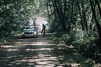 Wout van Aert (BEL/Vérandas Willems-Crelan) thrown back due to a mechanical (in a section where teamcars weren't allowed to follow) and is forced to change his bike and continue with a neutral spare bike<br /> <br /> 92nd Schaal Sels 2017 <br /> 1 Day Race: Merksem > Merksem (188km)