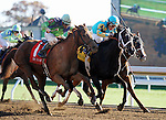 October 24, 2014: #4 Courageous Julie and jockey Paco Lopez and #1 Jenny Jenney and jockey Corey Lanerie dead heat for the win in the 8th race, Allowance $65,000.  Candice Chavez/ESW/CSM