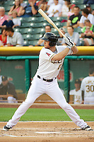 Brennan Boesch (23) of the Salt Lake Bees at bat against the Tacoma Rainiers in Pacific Coast League action at Smith's Ballpark on July 9, 2014 in Salt Lake City, Utah.  (Stephen Smith/Four Seam Images)
