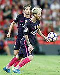 FC Barcelona's Sergi Roberto (l) and Leo Messi during La Liga match. August 28,2016. (ALTERPHOTOS/Acero)