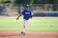 Saul Alva (45), from San Jose, California, while playing for the Dodgers during the Under Armour Baseball Factory Recruiting Classic at Gene Autry Park on December 30, 2017 in Mesa, Arizona. (Zachary Lucy/Four Seam Images)