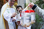 A fish is blessed by a priest at San Anton church in Madrid marking San Anton Abad's Day (Saint Anthony), on January 17, 2016. Pet animals, many dressed in their finest, trooped into churches across Spain in search of blessing on the patron saint of animals Saint Anthony's Day.  (ALTERPHOTOS/Rodrigo Jimenez)