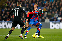 Christian Benteke of Crystal Palace fends off Dan Burn of Brighton & Hove Albion during the Premier League match between Crystal Palace and Brighton and Hove Albion at Selhurst Park, London, England on 16 December 2019. Photo by Carlton Myrie / PRiME Media Images.
