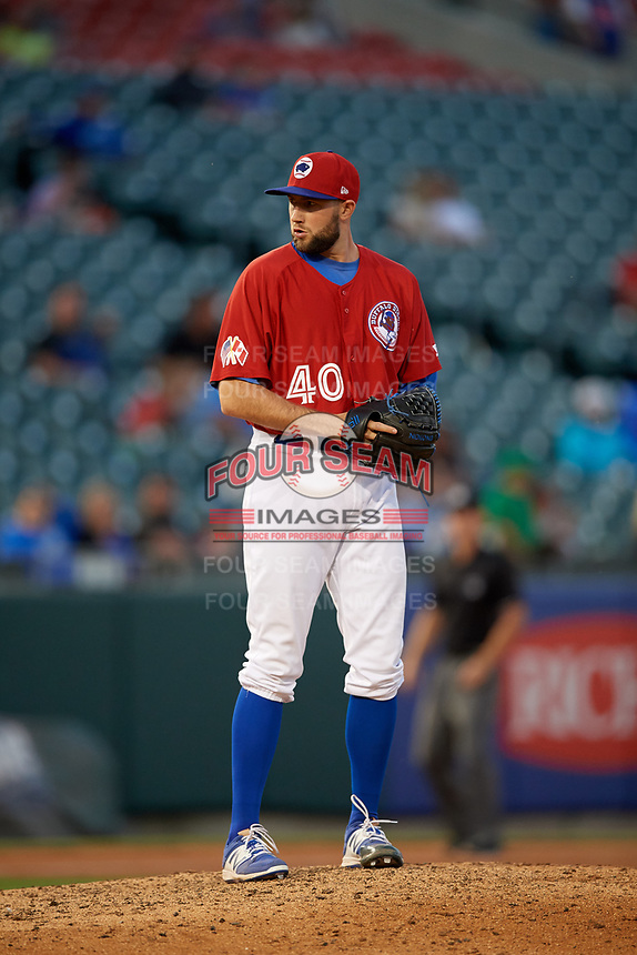 Buffalo Bisons relief pitcher Tim Mayza (40) gets ready to deliver a pitch during a game against the Syracuse Chiefs on July 6, 2018 at Coca-Cola Field in Buffalo, New York.  Buffalo defeated Syracuse 6-4.  (Mike Janes/Four Seam Images)