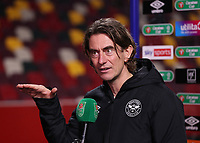 22nd December 2020; Brentford Community Stadium, London, England; English Football League Cup Football, Carabao Cup, Brentford FC versus Newcastle United; Brentford Manager Thomas Frank being interviewed after the match