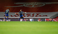 17th December 2020, Emirates Stadium, London, England;  Southamptons Theo Walcott celebrates after scoring with his teammate Kyle Walker-Peters during the English Premier League match between Arsenal and Southampton