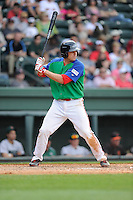 Designated hitter Danny Bethea (26) of the Greenville Drive bats in a game against the Augusta GreenJackets on Sunday, April 12, 2015, at Fluor Field at the West End in Greenville, South Carolina. Augusta won, 2-1. (Tom Priddy/Four Seam Images)