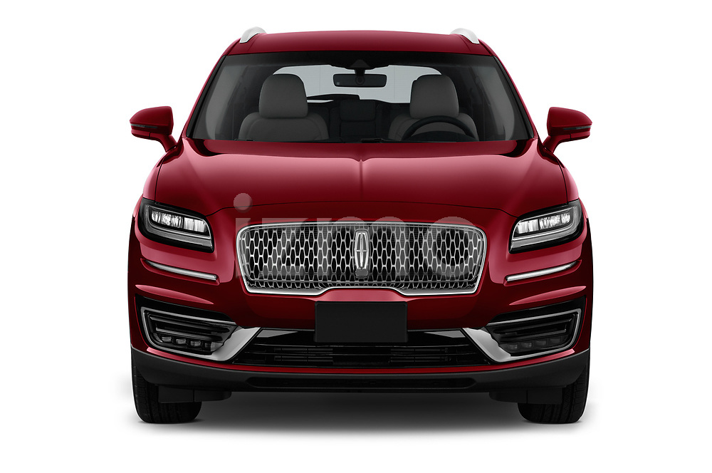 Car photography straight front view of a 2019 Lincoln Nautilus Select 5 Door SUV