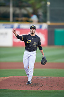 Kyle Tyler (20) of the Salt Lake Bees during the game against the Reno Aces at Smith's Ballpark on August 24, 2021 in Salt Lake City, Utah. The Aces defeated the Bees 6-5. (Stephen Smith/Four Seam Images)
