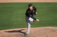 Pittsburgh Pirates pitcher James Marvel (60) during a Major League Spring Training game against the Baltimore Orioles on February 28, 2021 at Ed Smith Stadium in Sarasota, Florida.  (Mike Janes/Four Seam Images)