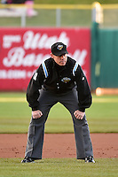 Base umpire Blake Davis during the game as the Sacramento River Cats faced the Salt Lake Bees at Smith's Ballpark on April 5, 2014 in Salt Lake City, Utah.  (Stephen Smith/Four Seam Images)