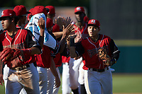 Frainyer Chavez (11) of the Hickory Crawdads high fives teammates following the win over the Greensboro Grasshoppers at L.P. Frans Stadium on May 26, 2019 in Hickory, North Carolina. The Crawdads defeated the Grasshoppers 10-8. (Brian Westerholt/Four Seam Images)