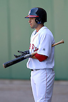 OF Sean Danielson of the  Pawtucket Red Sox, the AAA International League affiliate of the Boston Red Sox,waits on deck during a game vs. the Buffalo Bisons at McCoy Stadium in Pawtucket, RI 5-19-09 (Photo by Ken Babbitt/Four Seam Images)