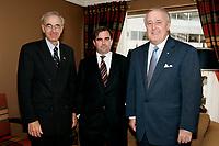 3 Sept 2004, Montreal (Quebec0 CANADA<br /> Monsieur Michel Pigeon, recteur, Universit» Laval  <br /> Monsieur Andrew T. Molson, membre du Conseil, Fondation Molson<br /> Le trÀs honorable Brian Mulroney.<br /> Photo : (c) 2004 Pierre Roussel