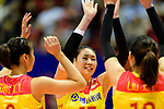 Ni Yan of China (C) high five her mates during the match between China and Japan on May 30, 2018 in Hong Kong, Hong Kong. (Photo by Power Sport Images/Getty Images)