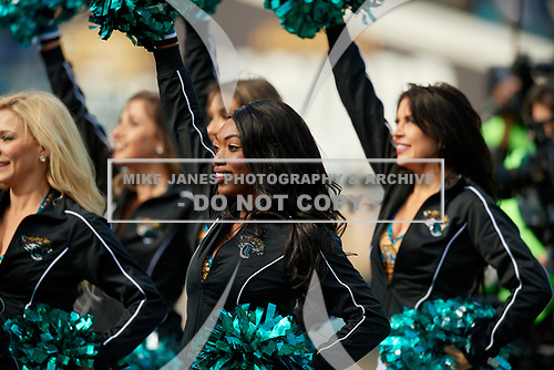 Jacksonville Jaguars cheerleaders during an NFL Wild-Card football game against the Buffalo Bills, Sunday, January 7, 2018, in Jacksonville, Fla.  (Mike Janes Photography)