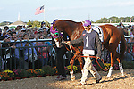 September 20, 2014: Fans of California Chrome crowd around the walking ring to see the Kentucky Derby and Preakness winner as he gets ready to compete in the Grade II Pennsylvania Derby at Parx Racing in Bensalem, PA.  Joan Fairman Kanes/ESW/CSM