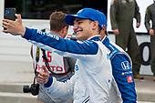 #10: Alex Palou, Chip Ganassi Racing Honda takes selfie with crewman after win.