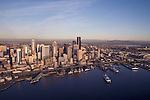 Seattle, skyline, Aerial, Mount Rainier, Elliott Bay, Puget Sound, Washington State ferry, Business District, Washington State, Pacific Northwest, North America, sunset,