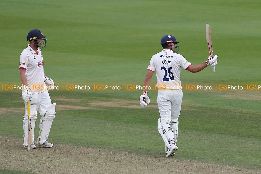 Sir Alastair Cook of Essex raises his bat to celebrate reaching his fifty during Surrey CCC vs Essex CCC, LV Insurance County Championship Division 2 Cricket at the Kia Oval on 12th September 2021