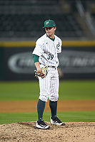 Charlotte 49ers relief pitcher Spencer Ard (39) looks to his catcher for the sign against the Clemson Tigers at BB&T BallPark on March 26, 2019 in Charlotte, North Carolina. The Tigers defeated the 49ers 8-5. (Brian Westerholt/Four Seam Images)
