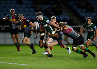9th September 2020; Twickenham Stoop, London, England; Gallagher Premiership Rugby, London Irish versus Harlequins; Ben Donnell of London Irish is tackled by Chris Robshaw of Harlequins