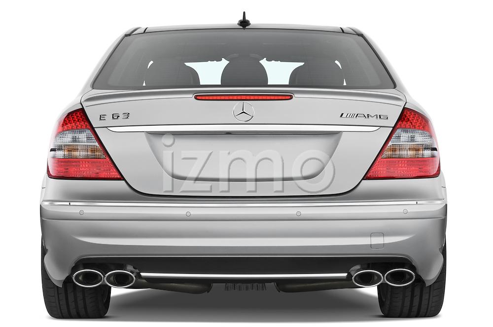 Straight rear view of a 2008 Mercedes E63 Sedan