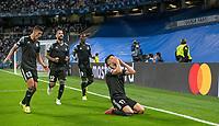 28th September 2021; Estadio Santiago Bernabeu, Madrid, Spain; Men's Champions League, Real Madrid CF versus FC Sheriff Tiraspol; Yakhshiboev celebrates the goal for 0-1 for Sheriff