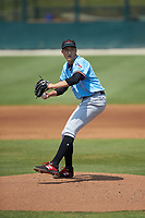 Hickory Crawdads starting pitcher Tai Tiedemann (23) in action against the Kannapolis Intimidators at Kannapolis Intimidators Stadium on June 2, 2019 in Kannapolis, North Carolina. The Intimidators defeated the Crawdads 4-3. (Brian Westerholt/Four Seam Images)