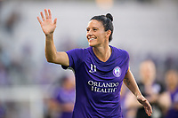 Orlando, FL - Saturday March 24, 2018: Orlando Pride defender Ali Krieger (11) waves to the crowd prior to a regular season National Women's Soccer League (NWSL) match between the Orlando Pride and the Utah Royals FC at Orlando City Stadium. The game ended in a 1-1 draw.