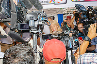 Media crowd around the gaggle area near the Political Soapbox at the Iowa State Fair in Des Moines, Iowa, on Tue., August 13, 2019.