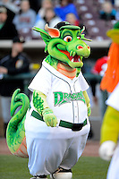 Dayton Dragons mascot on the field prior to a game against the Bowling Green Hot Rods on April 20, 2013 at Fifth Third Field in Dayton, Ohio.  Dayton defeated Bowling Green 6-3.  (Mike Janes/Four Seam Images)