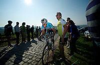 Dwars door Vlaanderen 2012.Niki Terpstra leading up the Patersberg