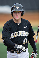 Jonathan Pryor (11) of the Wake Forest Demon Deacons during the game against the Towson Tigers at Wake Forest Baseball Park on March 1, 2015 in Winston-Salem, North Carolina.  The Demon Deacons defeated the Tigers 15-8.  (Brian Westerholt/Four Seam Images)