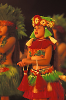 EDITORIAL ONLY. Child performing Tahitian dance at Merrie Monarch hula festival