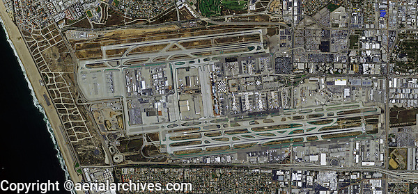 aerial map of Los Angeles International Airport, LAX, Los Angeles, California, 2012. For more recent imagery of the Los Angeles International Airport, please contact Aerial Archives.