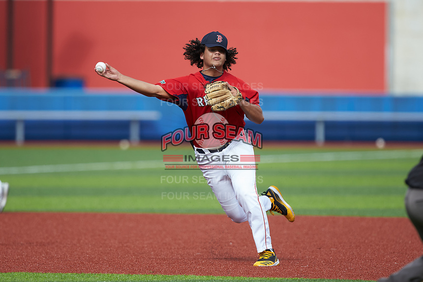 Third baseman Taye Robinson (35) of Clarksburg High School (VA) playing for the Red Sox scout team makes a throw to first base during game six of the South Atlantic Border Battle at Truist Point on September 27, 2020 in High Pont, NC. (Brian Westerholt/Four Seam Images)