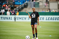 TACOMA, WA - JULY 31: Tziarra King #23 of the OL Reign before a game between Racing Louisville FC and OL Reign at Cheney Stadium on July 31, 2021 in Tacoma, Washington.