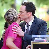 HOLLYWOOD, LOS ANGELES, CA, USA - OCTOBER 29: Kaley Cuoco, Jim Parsons at the ceremony honoring Kaley Cuoco with a star in the Hollywood Walk Of Fame on October 29, 2014 in Hollywood, Los Angeles, California, United States. (Photo by Xavier Collin/Celebrity Monitor)