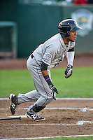 Luis Brito (16) of the Grand Junction Rockies follows through on his swing against the Ogden Raptors during the Pioneer League game at Lindquist Field on August 24, 2016 in Ogden, Utah. The Raptors defeated the Rockies 11-10. (Stephen Smith/Four Seam Images)